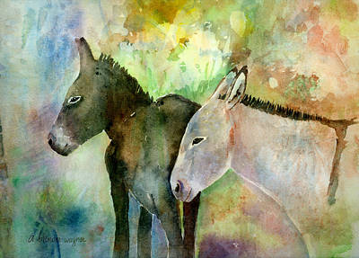 Burro Painting - Burros by Arline Wagner