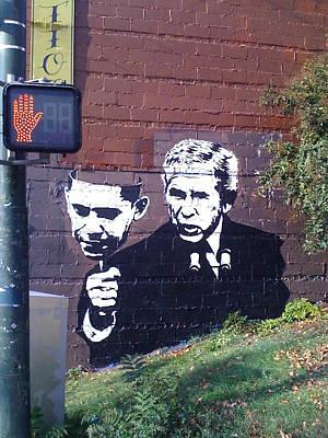 Spagnola Painting - Bush With Obama Mask by Dustin Spagnola
