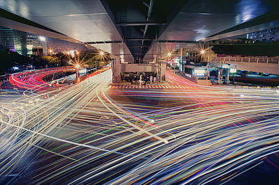 Busy Light Trail In City At Night Print by Yiu Yu Hoi