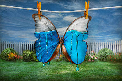 Butterfly - Morpho - I Hate It When The Colors Run Print by Mike Savad