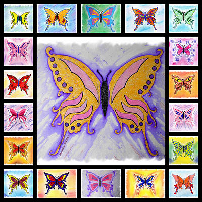 Butterfly Collage Print by Mark Schutter