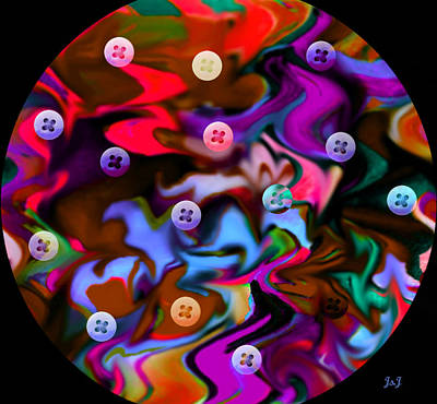 Button Moon Print by Jan Steadman-Jackson