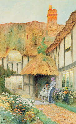 Chimneys. Flowers Painting - By The Cottage Door by Arthur Claudes Strachan