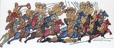 Byzantine Cavalrymen Rout Bulgarians Print by Photo Researchers