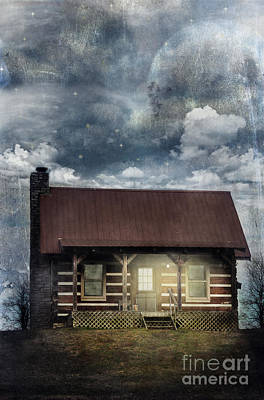 Log Cabin Photograph - Cabin At Night by Stephanie Frey