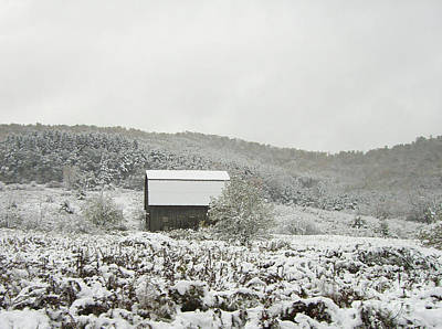 Cabin In The Snow Print by Michael Waters