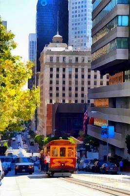 Bay Area Digital Art - Cablecar On San Francisco California Street  . 7d7176 by Wingsdomain Art and Photography