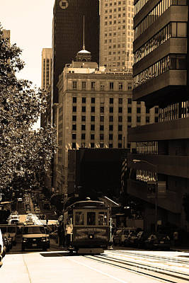 Cablecar On San Francisco California Street . Sepia . 7d7176 Print by Wingsdomain Art and Photography