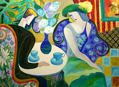 Women Together Painting - Cafe In Cannes by Leon Zernitsky