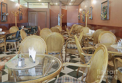 Coat Rack Photograph - Cafe With Rattan Chairs And Tables by Magomed Magomedagaev