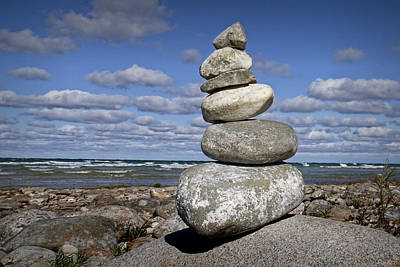 Cairn At North Point On Leelanau Peninsula In Michigan Print by Randall Nyhof