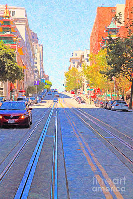 Bay Area Digital Art - California Street In San Francisco Looking Up Towards Chinatown 2 by Wingsdomain Art and Photography