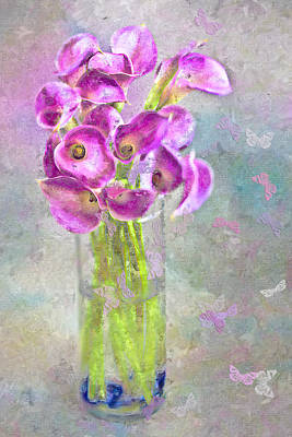 Callas In A Vase With Butterflies Print by Jill Balsam