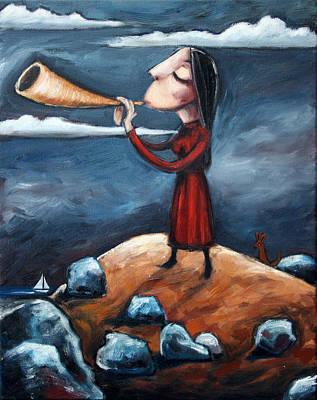Kangaroo Painting - Calling by Leanne Wilkes