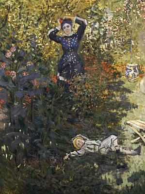 Camille And Jean In The Garden At Argenteuil  Print by Claude Monet