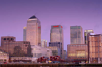 Canary Wharf At Dusk Print by Jeremy Walker