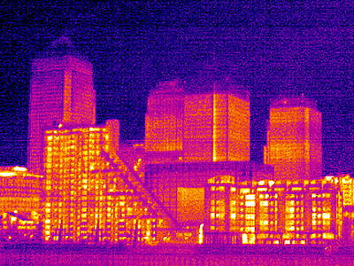 Canary Wharf, London, Uk, Thermogram Print by Tony Mcconnell