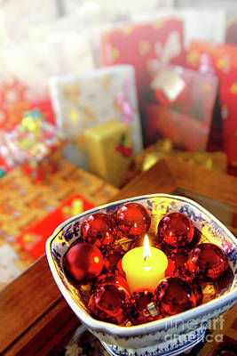 Christmas Photograph - Candle And Balls by Carlos Caetano