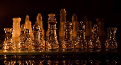 Candle Lit Chess Men Print by Lori Coleman