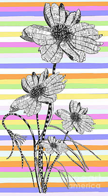 Juvenile Licensing Mixed Media - Candy Stripes Happy Flowers Juvenile Licensing by Anahi DeCanio