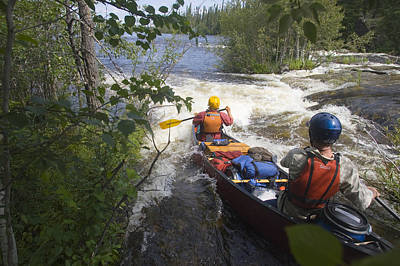 Canoeists Run A Rapid On The Winisk Print by Skip Brown
