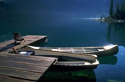Canoes, Lake Ohara, Yoho National Park Print by David Nunuk