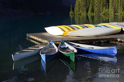 Canoes Morraine Lake 2 Print by Bob Christopher