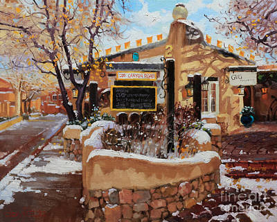 Rooftops Painting - Canyon Road Winter by Gary Kim