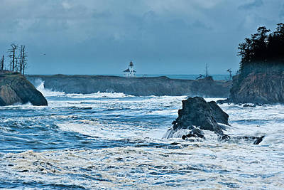 Coo Photograph - Cape Arago Light House by Alvin Kroon
