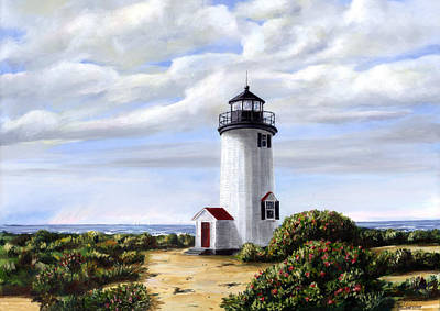 New England Lighthouse Painting - Cape Pouge Light by Paul Gardner