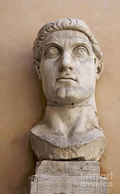 Capitoline Museums Palazzo Dei Conservatori- Head Of Emperor Con Print by Bernard Jaubert