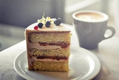 Desserts Photograph - Cappuccino And Cake by Amparo E. Rios