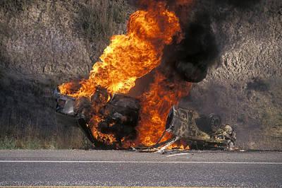Car In Flames Print by Kaj R. Svensson