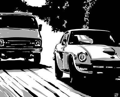 Drive Digital Art - Car Passing Nr 2 by Giuseppe Cristiano
