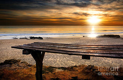 Old Plank Tables Photograph - Carcavelos Beach by Carlos Caetano
