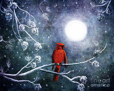 Cone Digital Art - Cardinal On A Wintry Night by Laura Iverson