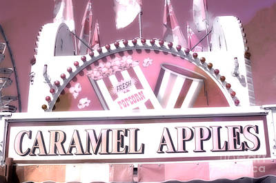 Pink Of Carnival And Festivals Ferris Wheels Photograph - Carnival Festival Fun Fair Caramel Apples Stand by Kathy Fornal