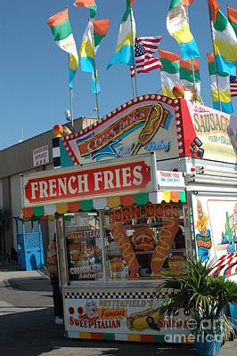 Pink Of Carnival And Festivals Ferris Wheels Photograph - Carnival Festival Fun Fair French Fries Food Stand by Kathy Fornal