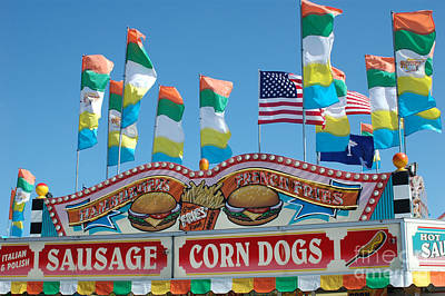 Pink Of Carnival And Festivals Ferris Wheels Photograph - Carnival Festival Fun Fair Sausage Corn Dog Stand by Kathy Fornal