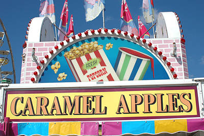 Pink Of Carnival And Festivals Ferris Wheels Photograph - Carnivals Fairs And Festival - Caramel Apples Sign by Kathy Fornal