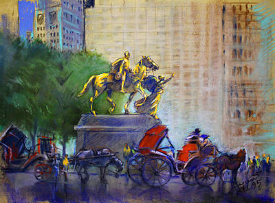 Carriage Rides In Nyc Print by Ylli Haruni