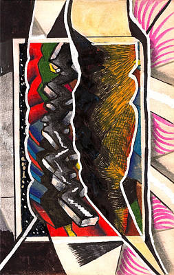 Behind The Scenes Drawing - Torn Plastic Picture Plane by Al Goldfarb