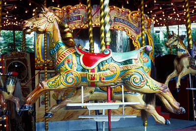Antique Carousel Photograph - Carrouse Horse Paris France by Garry Gay