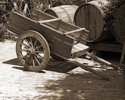 Cart And Wine Barrels In Italy Print by Greg Matchick