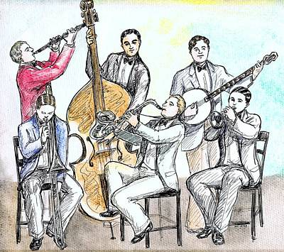 Trombone Drawing - Cartoon Jazz Band by Mel Thompson