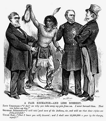 Cartoon: Native Americans, 1876 Print by Granger