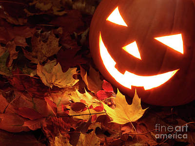 Halloween Photograph - Carved Pumpkin On Fallen Leaves by Oleksiy Maksymenko
