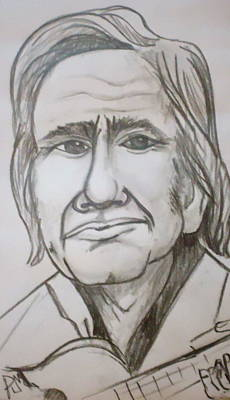 Johnny Cash Drawing - Cash Caricature by Pete Maier