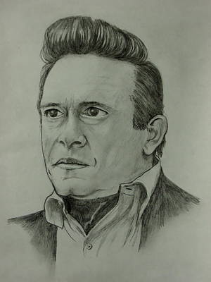 Johnny Cash Drawing - Cash Draw by Pete Maier