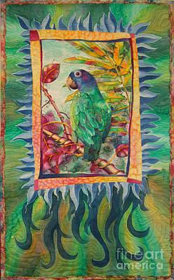 Fiber Art Painting - Cassie Conure by Deborah Younglao
